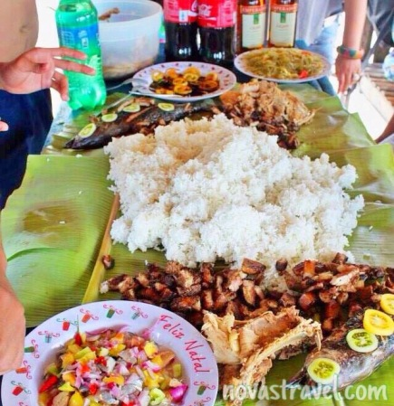 It's a Boodle Fight kind of eating; this is how you properly set up the table when you're at the beach