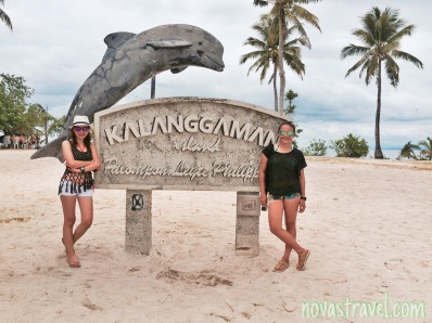 My bestfriend and I, taking a souvenir photo together with the Kalanggaman Island landmark