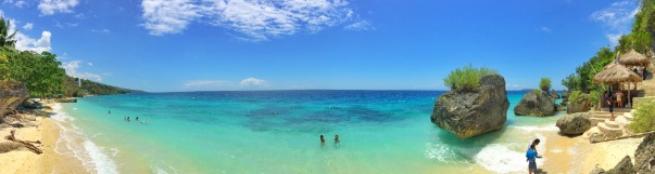 Panoramic view of Cangcua-ay Private Resort and Seafari Resort - taken on top of a rock. Clearly Cangcuaay is more appealing (just saying)